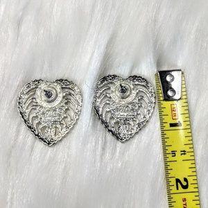 Jewelry - Silver Pearl & Heart Earrings